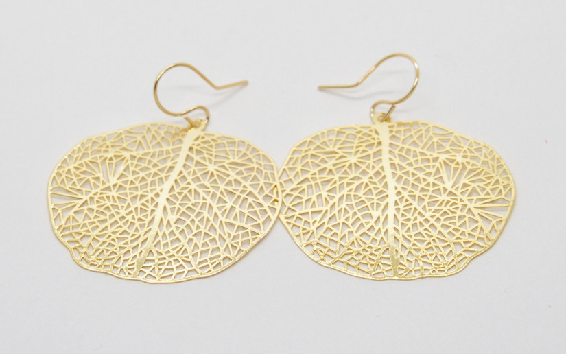 Filigrane goldene Blatt Ohrringe