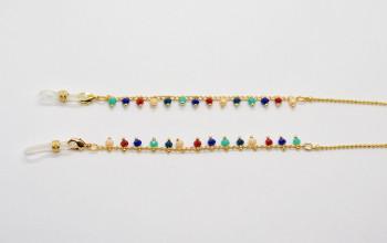 Goldene Brillenkette mit farbigen Perlen