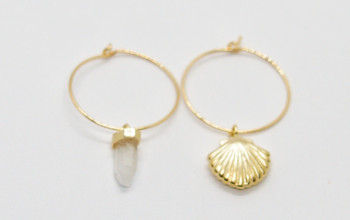Goldene Creolen mit Muschel Kristall Anhänger