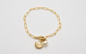 Goldene Armkette mit Muschel und Perle