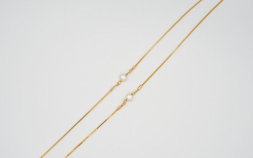 Goldene Brillenkette mit Süsswasser Perle