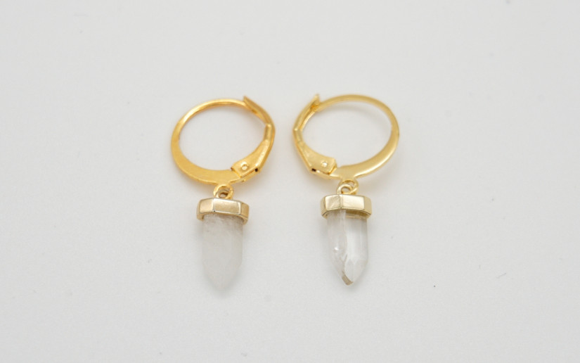 Goldene Ohrringe mit klarem Quartz Anhänger