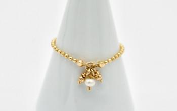 Goldener Kettenring mit kleiner Perle