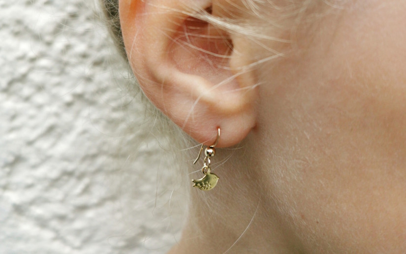 Schlichte kleine Ohrringe mit Vögelchen