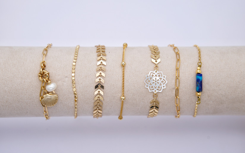 Schlichte goldene Armkette mit grossen Gliedern