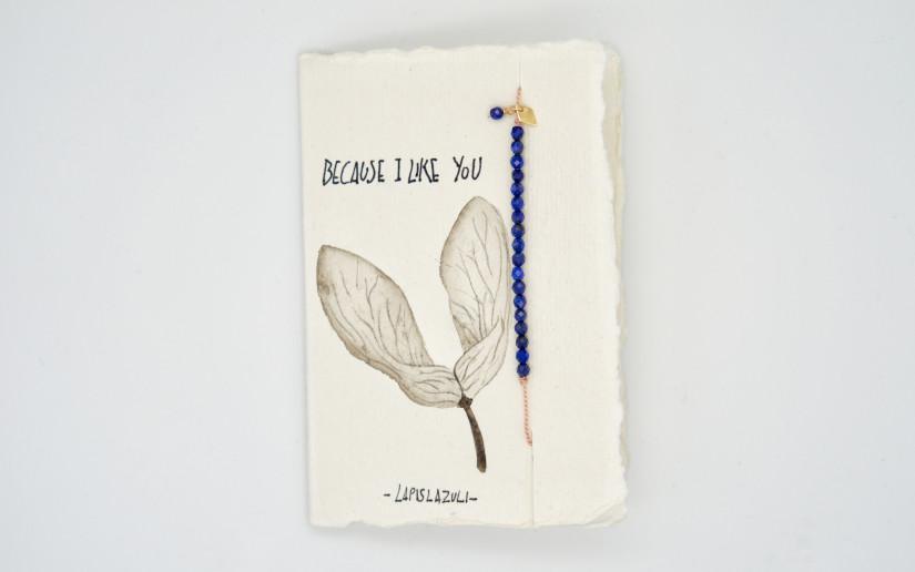 """Grusskarte """"Friendship"""" mit Lapislazuli-Perlen"""