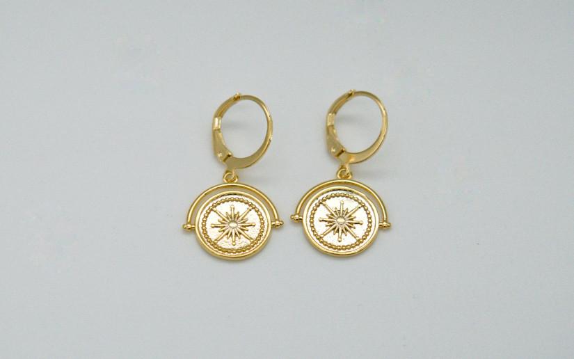 Goldene Ohrringe mit Münz Plättchen