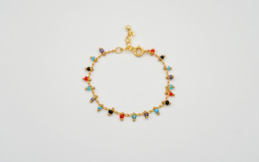 Armkette mit farbigen Glas-Perlen