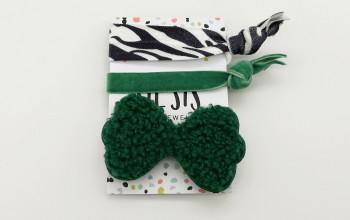 Haargummi-Set mit grüner Schleife
